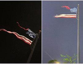 不祥之兆!美最大国旗被雷劈碎,是国运啊